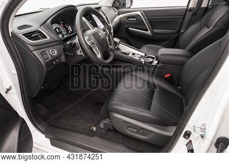 Novosibirsk, Russia - August 20, 2021:  Mitsubishi Pajero Sport, Steering Wheel, Shift Lever, Multim