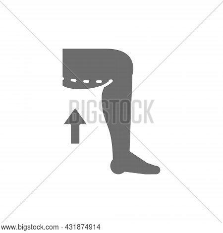Hip Liposuction, Thigh Plastic Surgery Grey Icon.