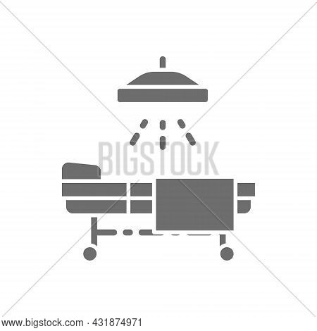 Operating Table, Resuscitation, Hospital Bed With Medical Equipments Grey Icon.