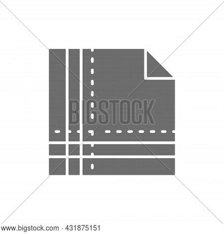 Cloth Napkin Folded In Square Grey Icon.