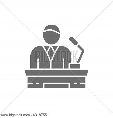 Speaker On Tribune, Project Presentation, President, Leader Grey Icon.
