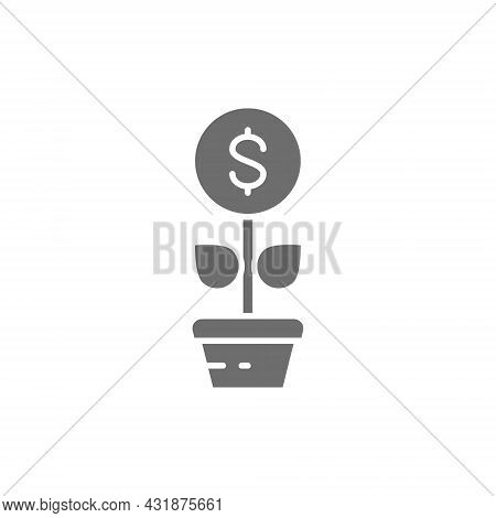 Money Tree, Financial Investments, Save Money, Invest Grey Icon.