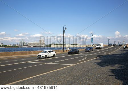 St. Petersburg, Russia - July 09, 2021: View Of The Palace Embankment In St. Petersburg