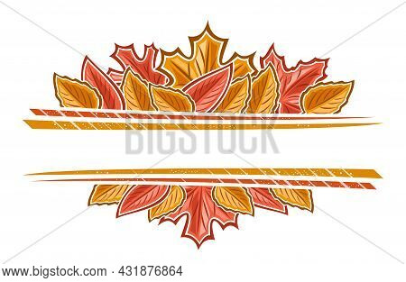 Vector Autumn Leaves Border With Copyspace, Horizontal Template With Illustration Of Pile Colorful A