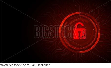 Concept Of Destroyed Cyber Security.padlock Red Open On Electric Circuits Network Dark Red Backgroun
