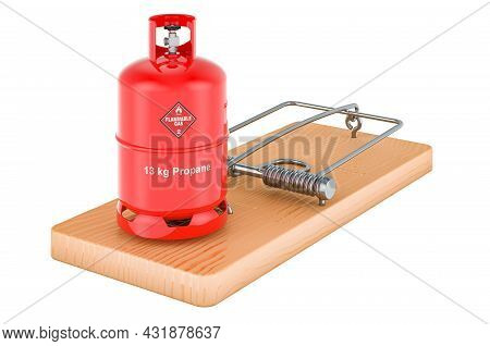 Propane Gas Cylinder Inside Mousetrap, 3d Rendering Isolated On White Background
