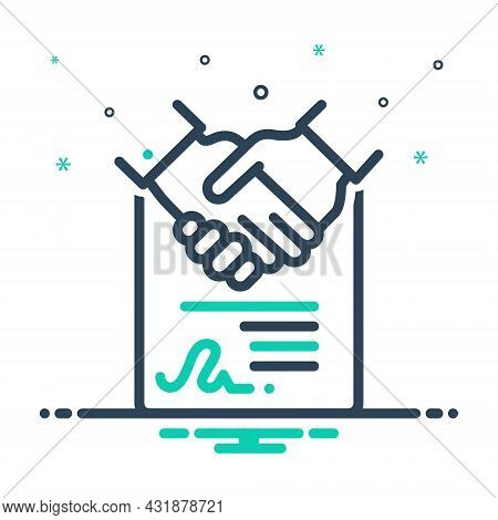 Mix Icon For Consensus Agreement Accord Solidarity Settlement Deal Handshake Cooperation Business Co