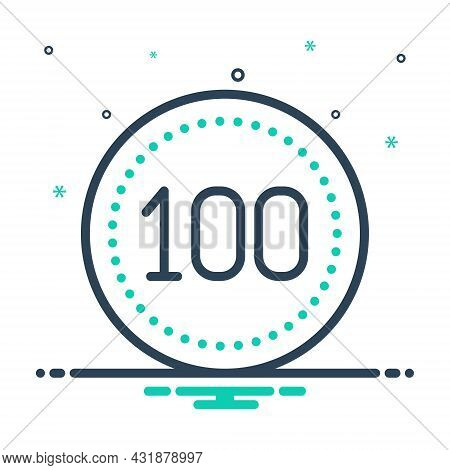 Mix Icon For Hundred Score Guarantee Digit Mathematical Cent Century Calculated Numerical Number Let