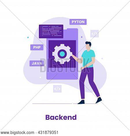Flat Design Backend Of Developer Concept