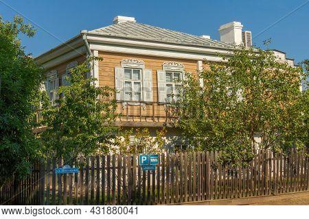Veshenskaya, Russia - August 28, 2021: Guest House Stylized As A Cossack Kuren. Two-storey House Wit