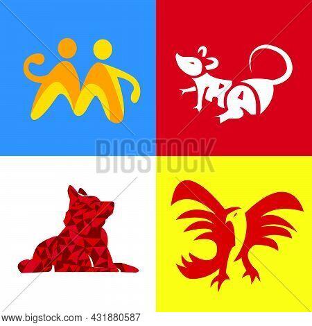 Set Bundle Minimalist Animal Dog, Eagle, Bird, Rat, Mouse Logo
