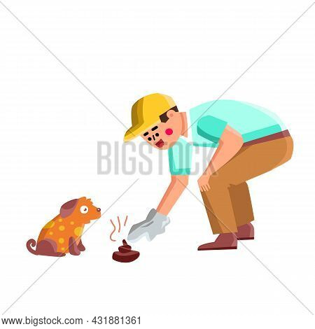 Man Cleaning Up After Dog Animal In Park Vector. Boy Clean Up After Dog Domestic Pet Outdoor And Thr