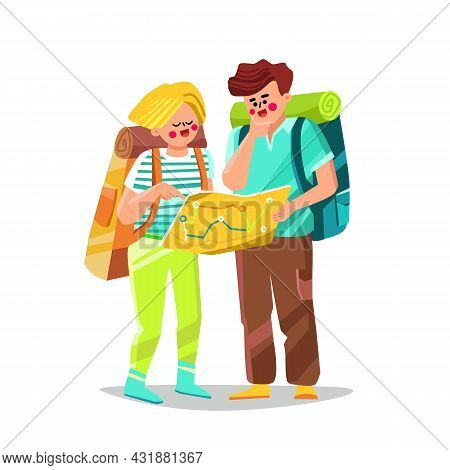 Confused Tourist Man And Woman Search Way Vector. Lost And Confused Tourist Boy And Girl Couple Sear
