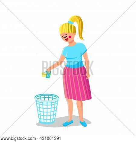 Expired Medicine Girl Throwing In Trashcan Vector. Young Woman Throw Expired Medicine Packages In Ru