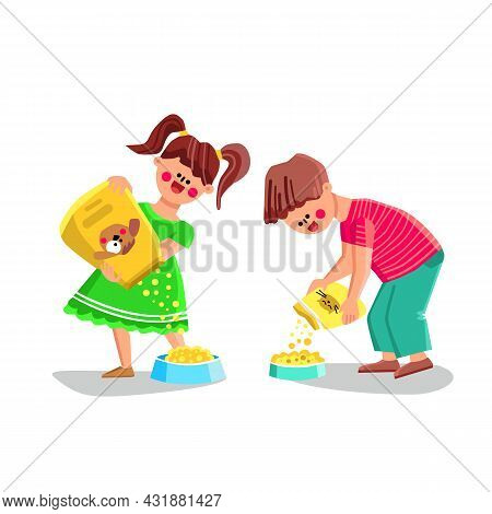 Pet Food Boy And Girl Pouring For Feeding Vector. Children Couple Pouring Pet Food From Bag Into Pla