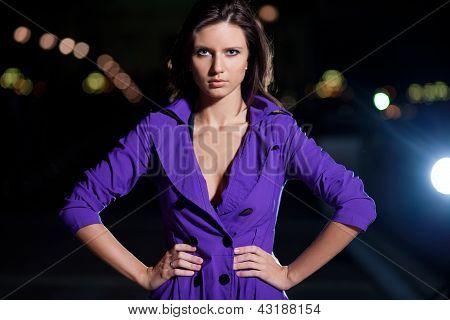 Beautiful Brunette Girl Outside At Night