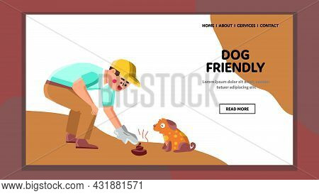 Dog Friendly Walking In Park And Clean Up Vector. Dog Friendly Walk Togetherness Outdoor And Cleanin