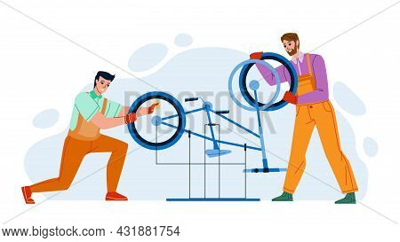 Bicycle Repair Service Men Workers Fixing Vector. Young Guys Examining And Repairing Bicycle Parts.
