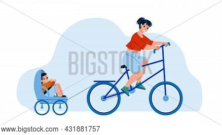 Mother And Son Riding Bike Trailer Outdoor Vector. Woman Ride Bicycle And Little Boy Child Sitting I