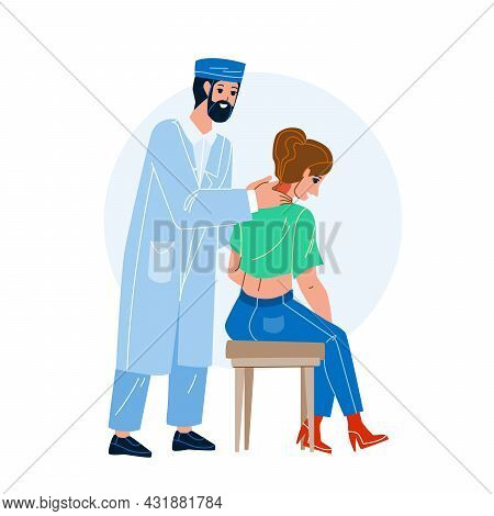 Cervical Spine Examination And Treatment Vector. Doctor Neurologist Checking And Treat Patient Cervi