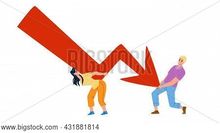 Business Financial Crisis Of Businesspeople Vector. Businessman And Businesswoman Trying To Stop Dow