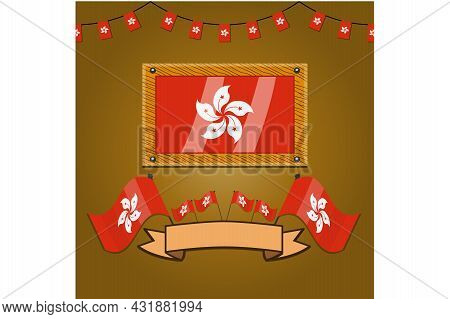 Hong Kong Flags On Frame Wood, Label, Simple Gradient And Vector Illustration
