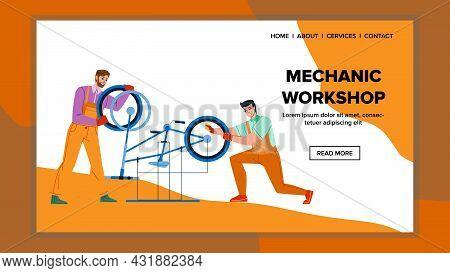 Mechanic Workshop Garage For Repair Bicycle Vector. Men Fixing Bike In Mechanic Workshop Service Tog
