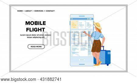Mobile Flight App Using Woman Passenger Vector. Mobile Flight Application For Choosing Airplane Dire