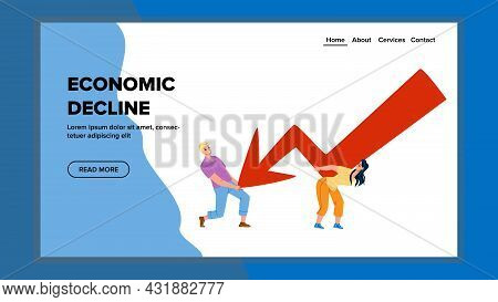 Economic Decline Business People Stopping Vector. Businessman And Businesswoman Trying To Stop Econo