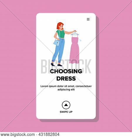 Woman Choosing Dress In Fashion Luxury Shop Vector. Young Girl Choosing Dress In Fashionable Clothin