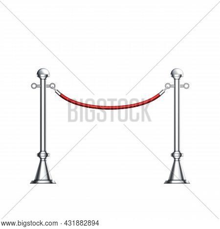 Barrier Chrome Column With Red Elegant Rope Vector. Luxury Stylish Barrier, Club Entrance Or Corrido