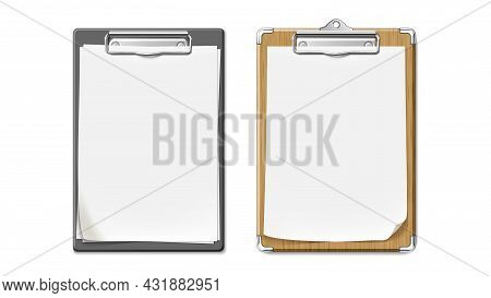 Clip Board With Wooden And Plastic Desk Set Vector. Clip Board With Blank Paper List Sheet Attached,