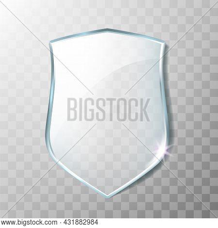 Glass Shield Acrylic Transparency Panel Vector. Blank Glass Shield, Policeman Or Safeguard Decorativ