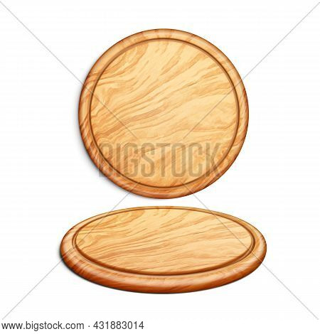Pizza Board Accessory For Fat Food Set Vector. Round Wooden Pizza Board In Circular Shape Tray For D