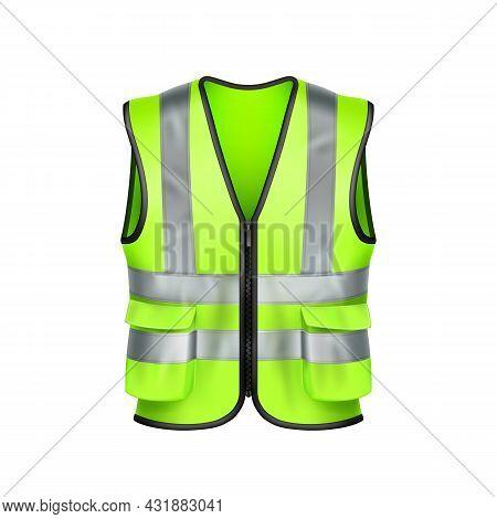 Safety Vest Road Worker Protection Clothes Vector. Green Safety Vest Highway Renovation Or Builder P