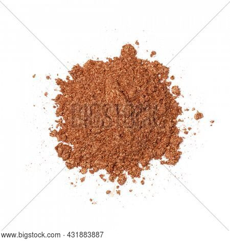 Heap of bronze powder dust isolated on white background
