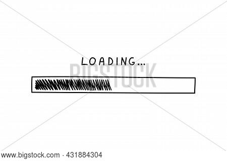 Progress Bar In Doodle Style, Vector Illustration. Hand Drawn Loading Symbol, Black Isolated Element