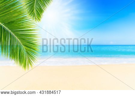 Summer Vacation And Travel Holiday Concept : Palm Leaves With Blurred Seascape View In Summer Season