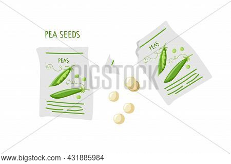 Green Pea Seeds For Planting. Micro Green Seed Pack. Paper Packaging For Storage Of Seeds. Agricultu