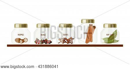 Set Of Spices.collection Of Transparent Jars With Spices On Shelf. Set Of Different Varieties Of Spi