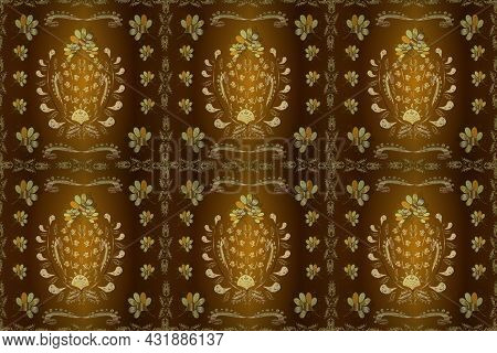 Seamless Golden Pattern. Gold Metal With Floral Pattern. Raster Golden Floral Ornament Brocade Texti