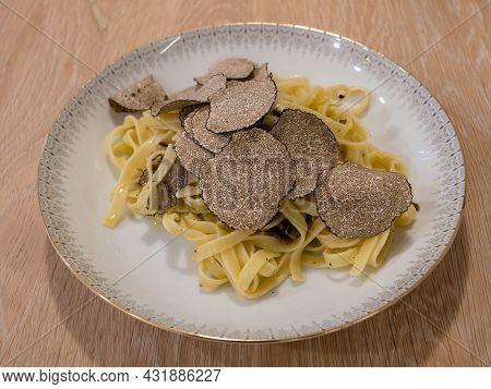 Tagliatelle Al Tartufo Nero, Black Truffle Pasta Side View