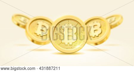 Bitcoin Electronic Cryptocurrency, Economy And Finance In Cyberspace. Background With Golden Coins,
