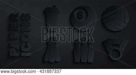 Set Bowling Pin, Volleyball Ball, Badminton Shuttlecock, Medal, Billiard Pool Snooker And Fitness Sh