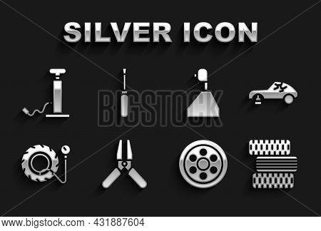 Set Car Battery Jumper Power Cable, Broken Car, Tire Wheel, Alloy, Tire Pressure Gauge, Gear Shifter