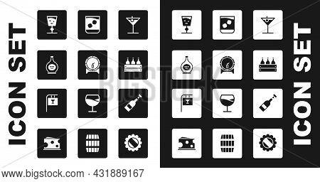 Set Martini Glass, Wooden Barrel On Rack, Bottle Of Cognac Or Brandy, Wine, Bottles Wine Wooden Box,