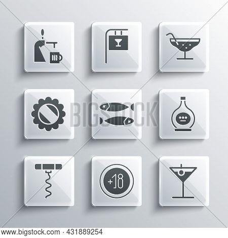 Set Alcohol 18 Plus, Martini Glass, Bottle Of Cognac Or Brandy, Dried Fish, Wine Corkscrew, Cap, Bee