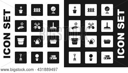 Set Tree, Shovel And Rake, Hand Holding Flower, Flower Pot, Garden, Fence Wooden, Fresh Grass Rectan