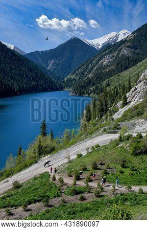 Landscape At Mountain Lake Nizhny Kolsai, Kazakhstan, Northern Tien Shan