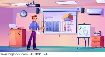 Teacher Giving Presentation Showing Charts On Whiteboard In Modern Classroom. Boardroom Or Meeting H